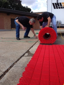 Rolling up the mats