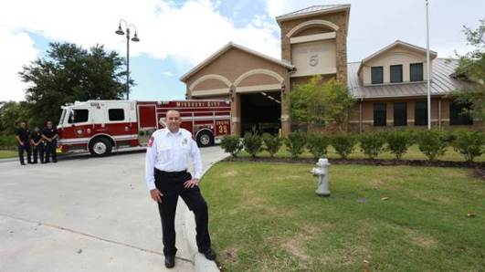 Missouri City & Rescue Services Chief Russell Sander poses in front of Fire Station 5